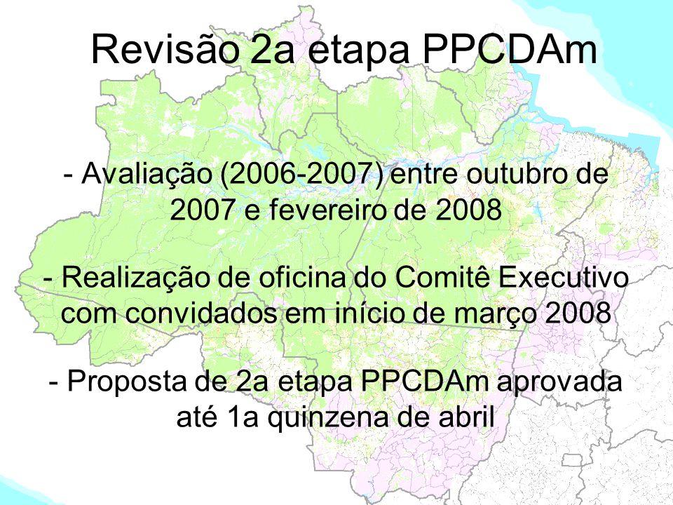 Revisão 2a etapa PPCDAm - Avaliação (2006-2007) entre outubro de 2007 e fevereiro de 2008 - Realização de oficina do Comitê Executivo com convidados e