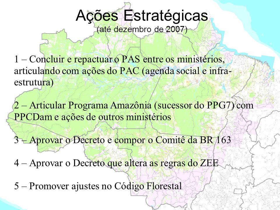 Ações Estratégicas (até dezembro de 2007) 1 – Concluir e repactuar o PAS entre os ministérios, articulando com ações do PAC (agenda social e infra- es