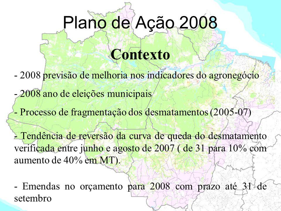 Plano de Ação 2008 Contexto - 2008 previsão de melhoria nos indicadores do agronegócio - 2008 ano de eleições municipais - Processo de fragmentação do