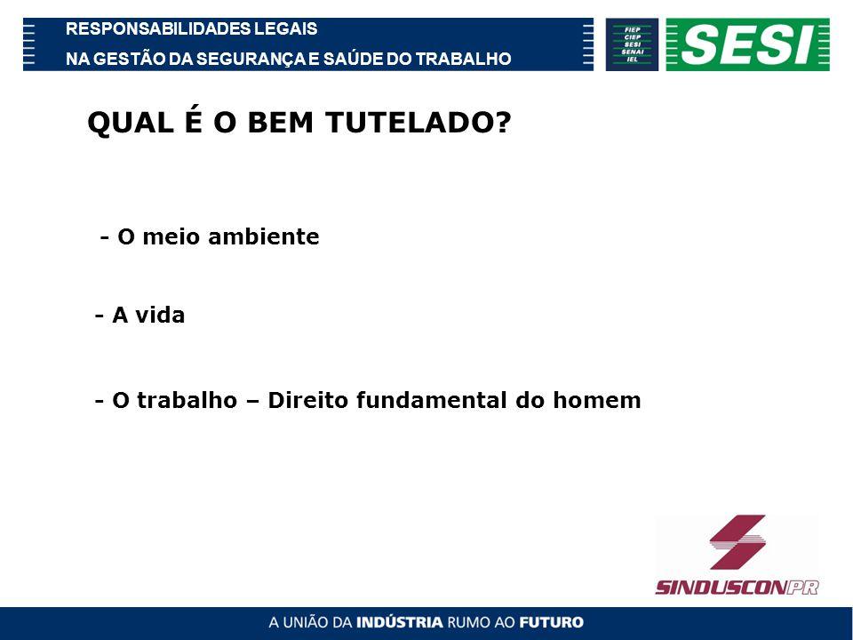 RESPONSABILIDADES LEGAIS NA GESTÃO DA SEGURANÇA E SAÚDE DO TRABALHO QUAL É O BEM TUTELADO.