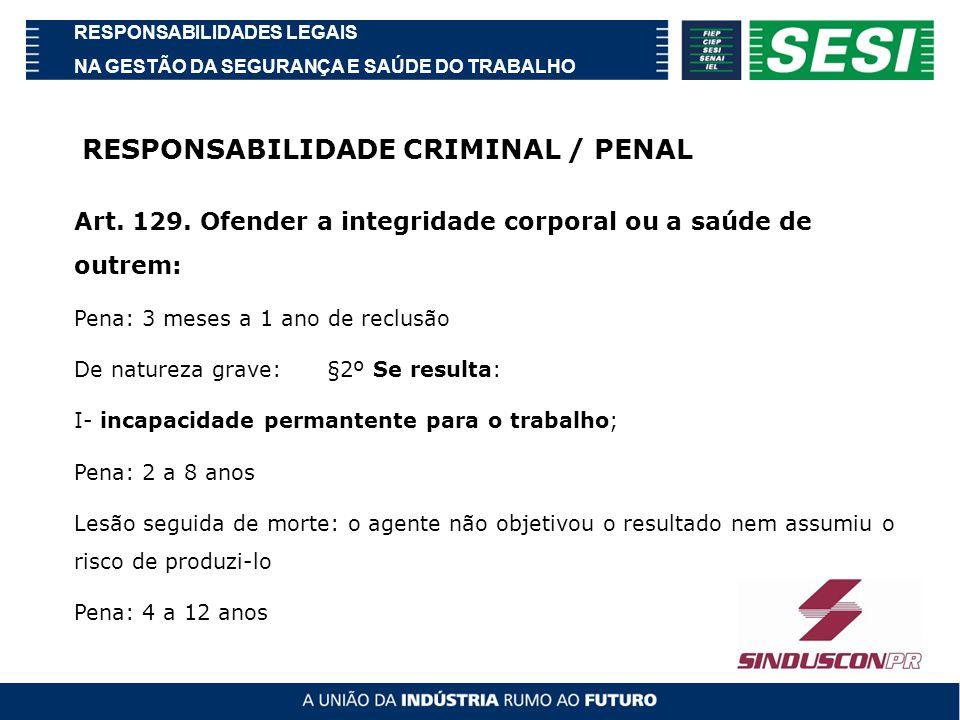 RESPONSABILIDADES LEGAIS NA GESTÃO DA SEGURANÇA E SAÚDE DO TRABALHO Código Penal Brasileiro Art.