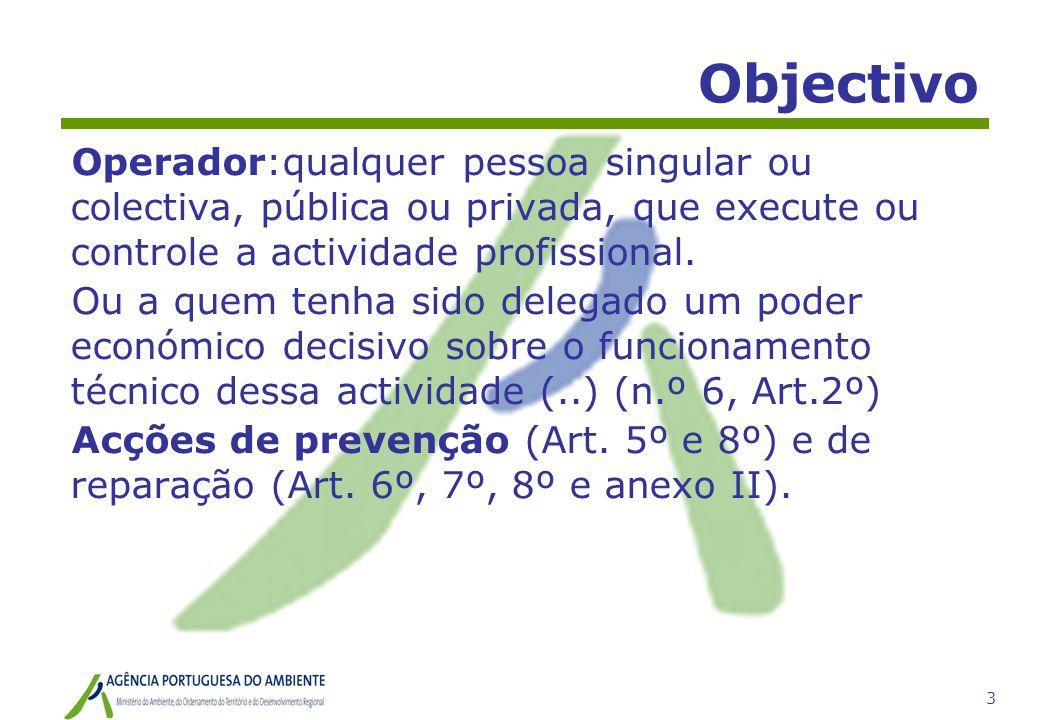 3 Objectivo Operador:qualquer pessoa singular ou colectiva, pública ou privada, que execute ou controle a actividade profissional. Ou a quem tenha sid