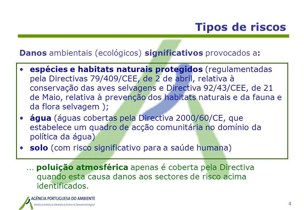 5 Tipos de riscos •espécies e habitats naturais protegidos (regulamentadas pela Directivas 79/409/CEE, de 2 de abril, relativa à conservação das aves selvagens e Directiva 92/43/CEE, de 21 de Maio, relativa à prevenção dos habitats naturais e da fauna e da flora selvagem ); •água (águas cobertas pela Directiva 2000/60/CE, que estabelece um quadro de acção comunitária no domínio da política da água) •solo (com risco significativo para a saúde humana) Danos ambientais (ecológicos) significativos provocados a:...