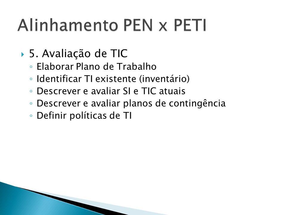  5. Avaliação de TIC ◦ Elaborar Plano de Trabalho ◦ Identificar TI existente (inventário) ◦ Descrever e avaliar SI e TIC atuais ◦ Descrever e avaliar