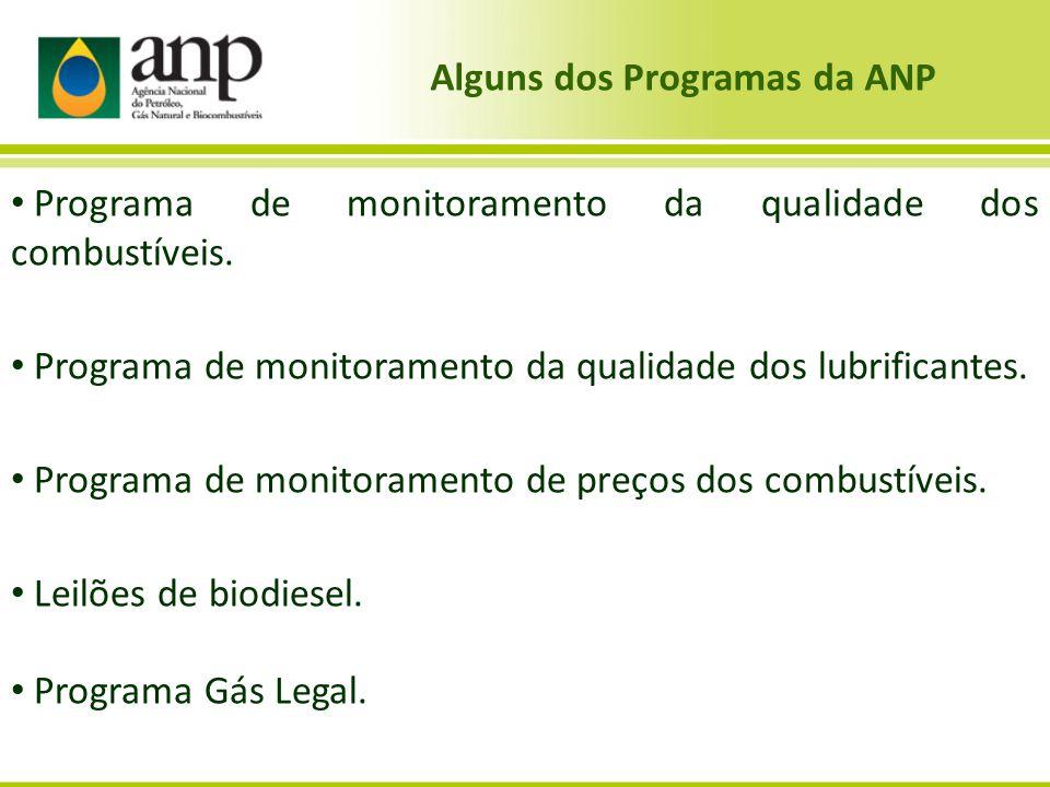 Alguns dos Programas da ANP • Programa de monitoramento da qualidade dos combustíveis. • Programa de monitoramento da qualidade dos lubrificantes. • P