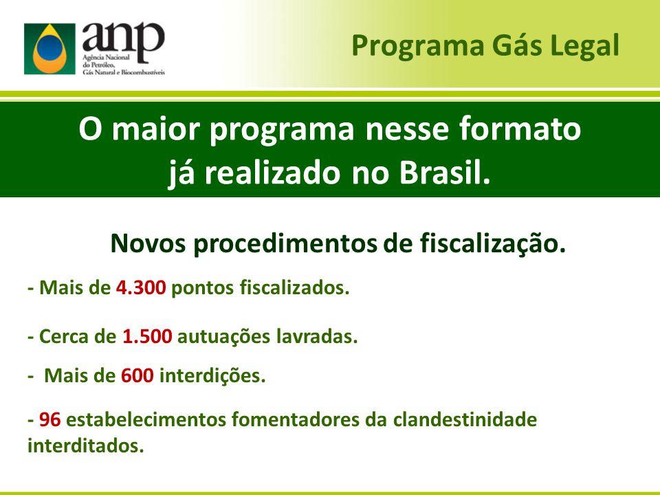 Programa Gás Legal Novos procedimentos de fiscalização. - Mais de 4.300 pontos fiscalizados. - Cerca de 1.500 autuações lavradas. - Mais de 600 interd