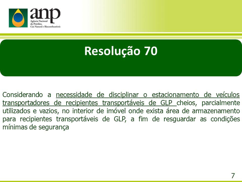 7 Resolução 70 Considerando a necessidade de disciplinar o estacionamento de veículos transportadores de recipientes transportáveis de GLP cheios, par