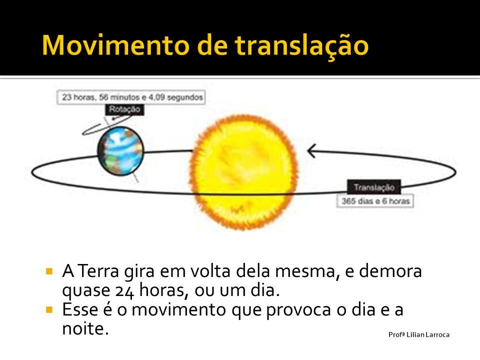  A Terra gira em volta dela mesma, e demora quase 24 horas, ou um dia.  Esse é o movimento que provoca o dia e a noite. Prof ª Lilian Larroca