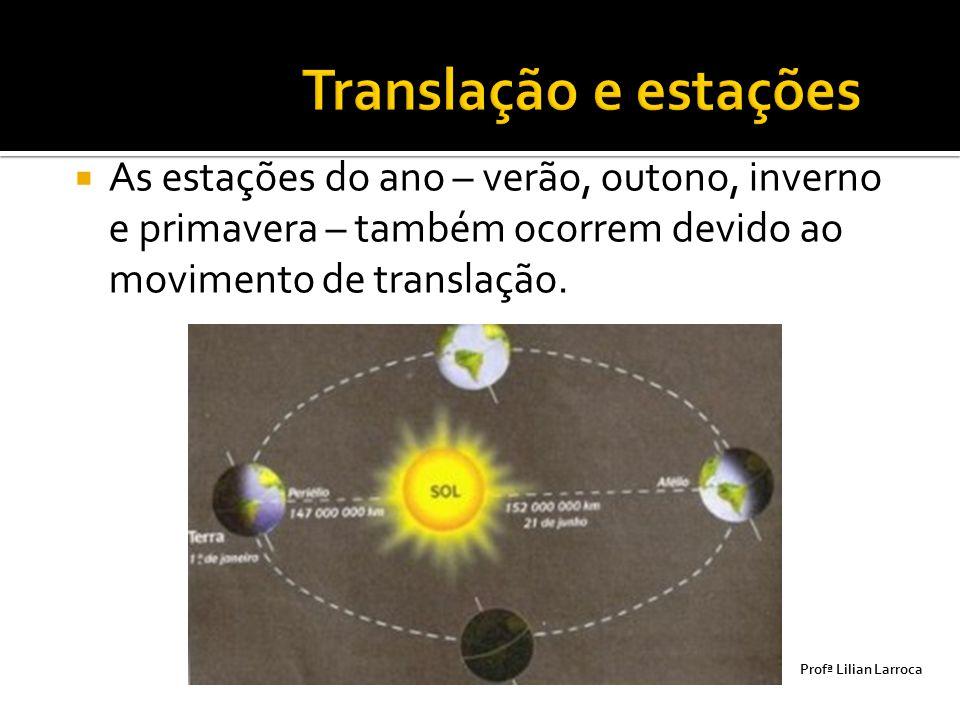  As estações do ano – verão, outono, inverno e primavera – também ocorrem devido ao movimento de translação. Prof ª Lilian Larroca