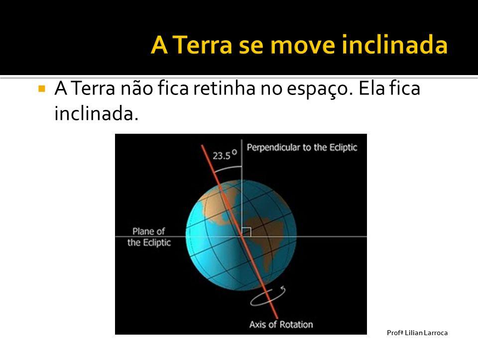  A Terra não fica retinha no espaço. Ela fica inclinada. Prof ª Lilian Larroca