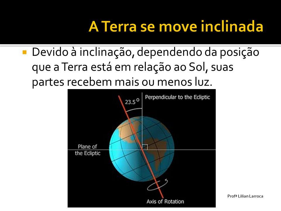  Devido à inclinação, dependendo da posição que a Terra está em relação ao Sol, suas partes recebem mais ou menos luz. Prof ª Lilian Larroca