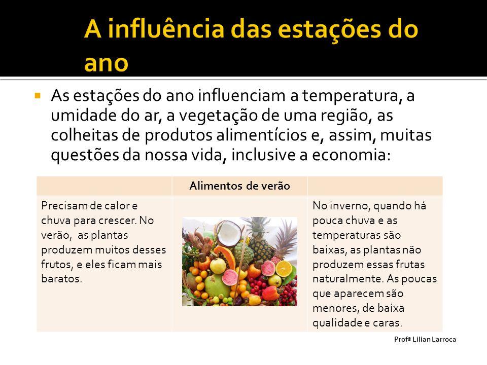  As estações do ano influenciam a temperatura, a umidade do ar, a vegetação de uma região, as colheitas de produtos alimentícios e, assim, muitas que