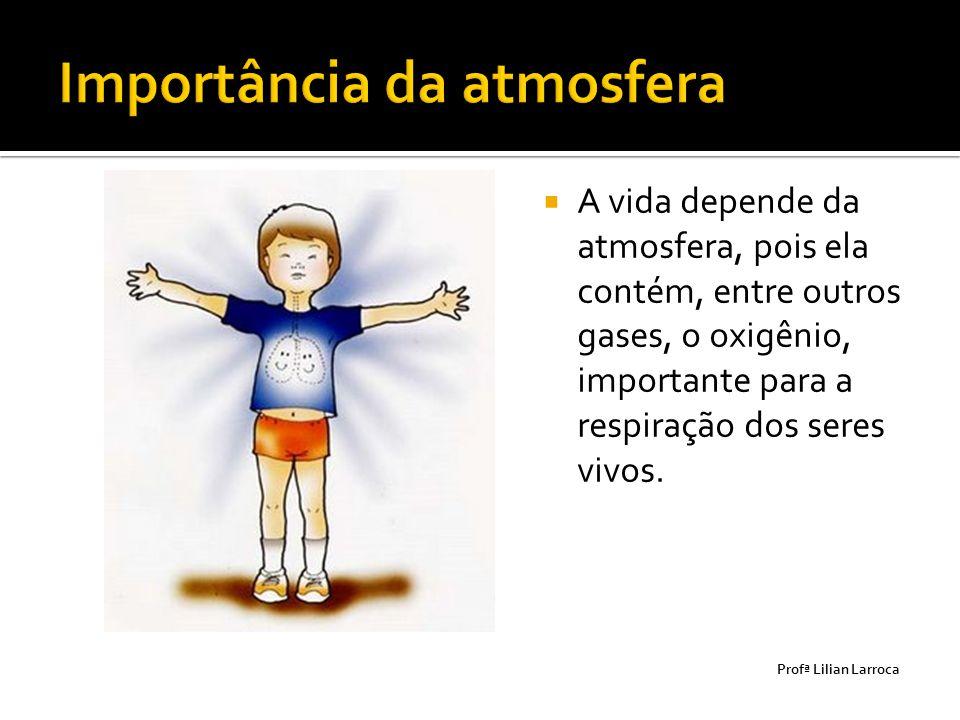  A vida depende da atmosfera, pois ela contém, entre outros gases, o oxigênio, importante para a respiração dos seres vivos. Prof ª Lilian Larroca