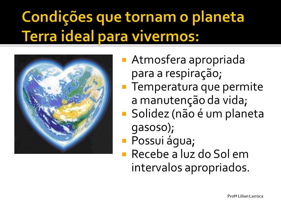  Atmosfera apropriada para a respiração;  Temperatura que permite a manutenção da vida;  Solidez (não é um planeta gasoso);  Possui água;  Recebe
