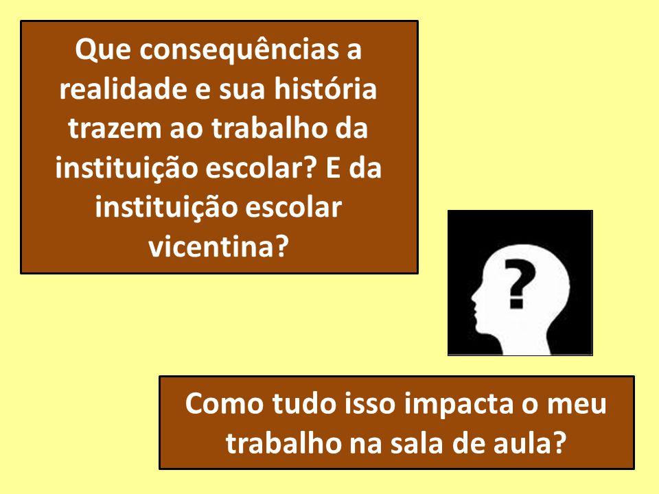 Que consequências a realidade e sua história trazem ao trabalho da instituição escolar? E da instituição escolar vicentina? Como tudo isso impacta o m