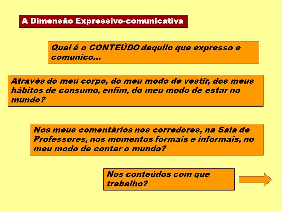 A Dimensão Expressivo-comunicativa Qual é o CONTEÚDO daquilo que expresso e comunico... Nos meus comentários nos corredores, na Sala de Professores, n