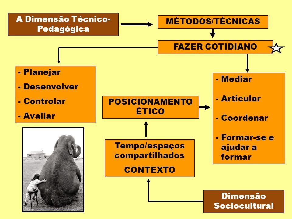 A Dimensão Técnico- Pedagógica MÉTODOS/TÉCNICAS FAZER COTIDIANO - Planejar - Desenvolver - Controlar - Avaliar Tempo/espaços compartilhados CONTEXTO D
