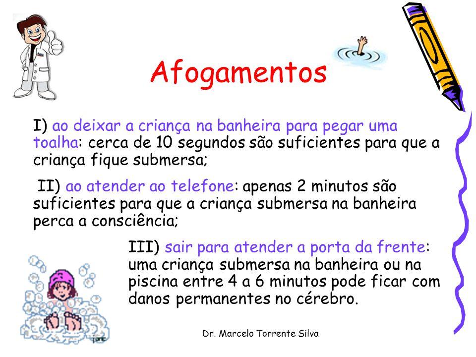 Dr. Marcelo Torrente Silva Afogamentos I) ao deixar a criança na banheira para pegar uma toalha: cerca de 10 segundos são suficientes para que a crian