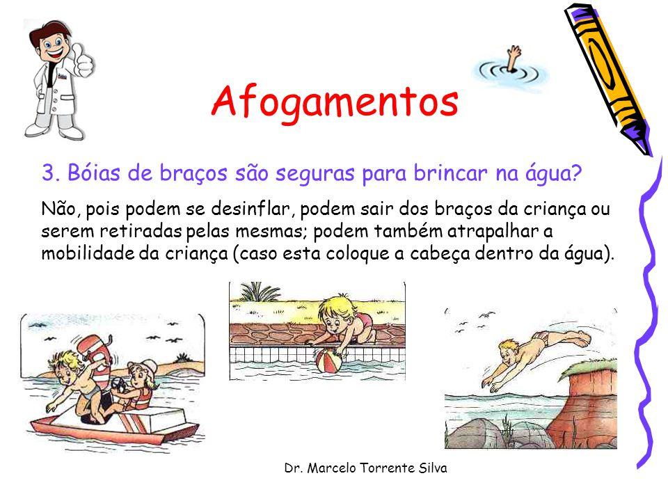 Dr. Marcelo Torrente Silva Afogamentos 3. Bóias de braços são seguras para brincar na água? Não, pois podem se desinflar, podem sair dos braços da cri