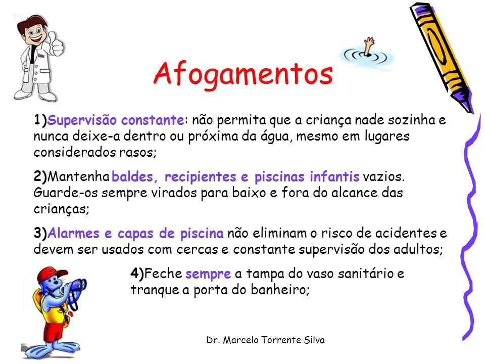 Dr. Marcelo Torrente Silva Afogamentos 1)Supervisão constante: não permita que a criança nade sozinha e nunca deixe-a dentro ou próxima da água, mesmo