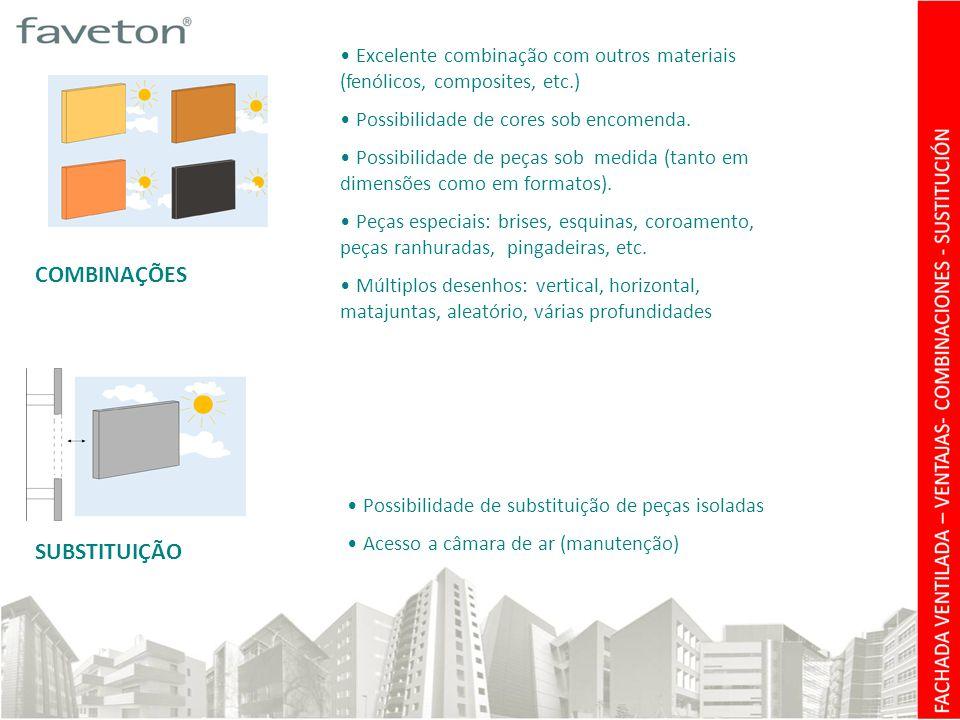 COMBINAÇÕES SUBSTITUIÇÃO • Excelente combinação com outros materiais (fenólicos, composites, etc.) • Possibilidade de cores sob encomenda.