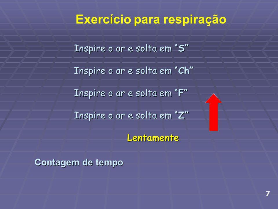 """Contagem de tempo 7 Exercício para respiração Inspire o ar e solta em """"S"""" Inspire o ar e solta em """"Ch"""" Inspire o ar e solta em """"F"""" Inspire o ar e solt"""