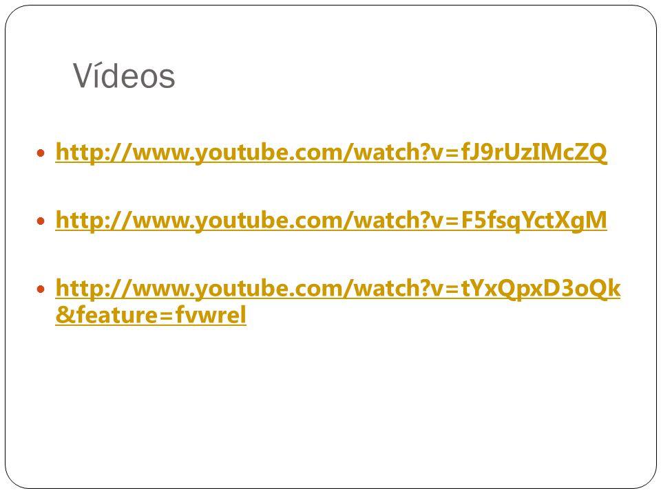Vídeos  http://www.youtube.com/watch?v=fJ9rUzIMcZQ http://www.youtube.com/watch?v=fJ9rUzIMcZQ  http://www.youtube.com/watch?v=F5fsqYctXgM http://www.youtube.com/watch?v=F5fsqYctXgM  http://www.youtube.com/watch?v=tYxQpxD3oQk &feature=fvwrel http://www.youtube.com/watch?v=tYxQpxD3oQk &feature=fvwrel
