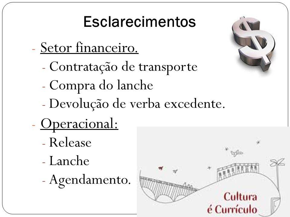 Esclarecimentos - Setor financeiro.