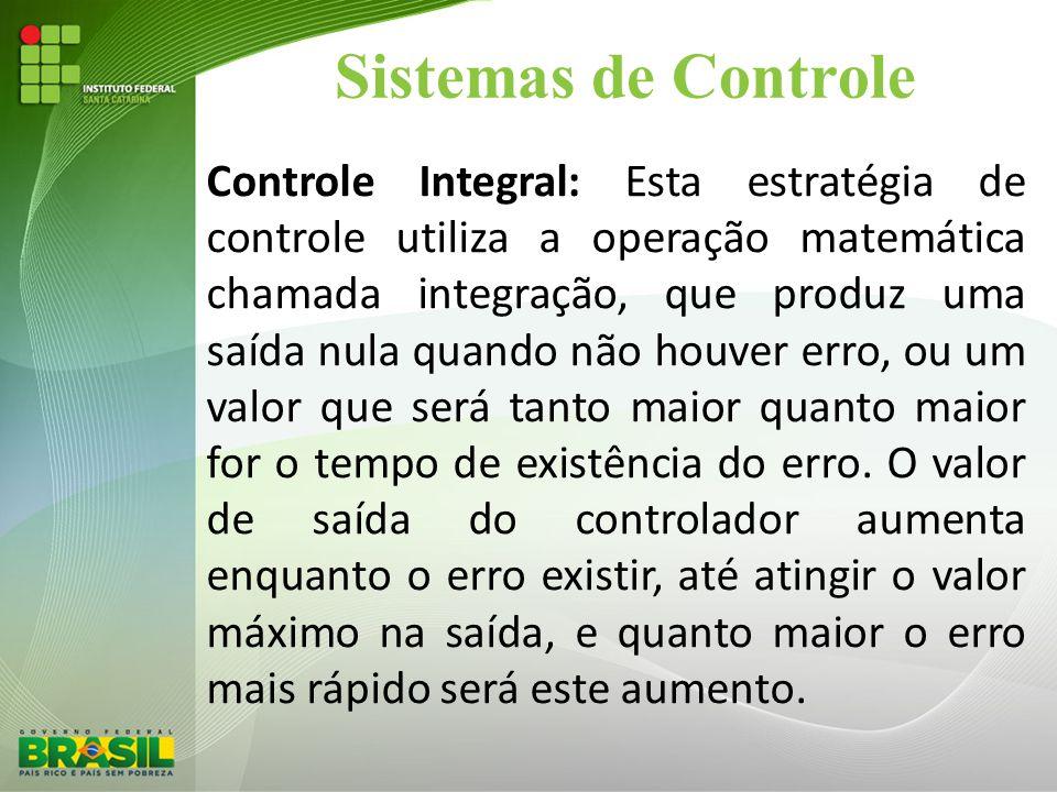 Sistemas de Controle Controle Integral: Esta estratégia de controle utiliza a operação matemática chamada integração, que produz uma saída nula quando