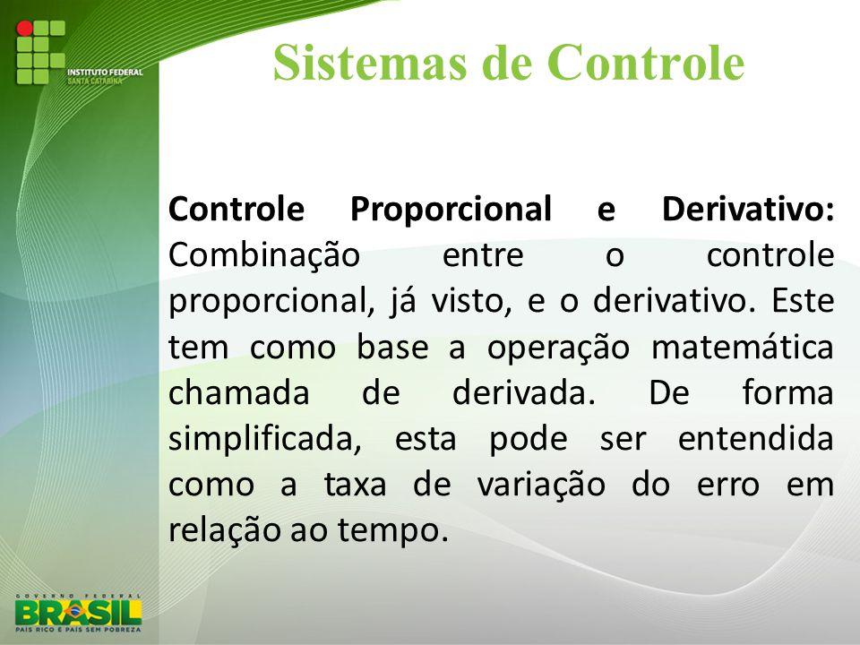 Sistemas de Controle Controle Proporcional e Derivativo: Combinação entre o controle proporcional, já visto, e o derivativo. Este tem como base a oper