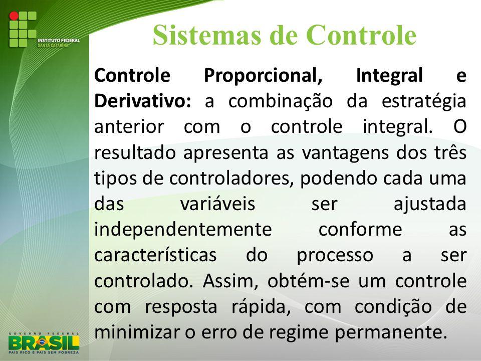 Sistemas de Controle Controle Proporcional, Integral e Derivativo: a combinação da estratégia anterior com o controle integral. O resultado apresenta