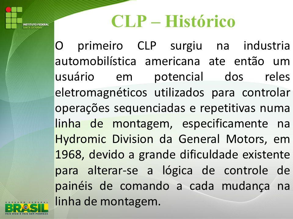 CLP – Histórico O primeiro CLP surgiu na industria automobilística americana ate então um usuário em potencial dos reles eletromagnéticos utilizados p