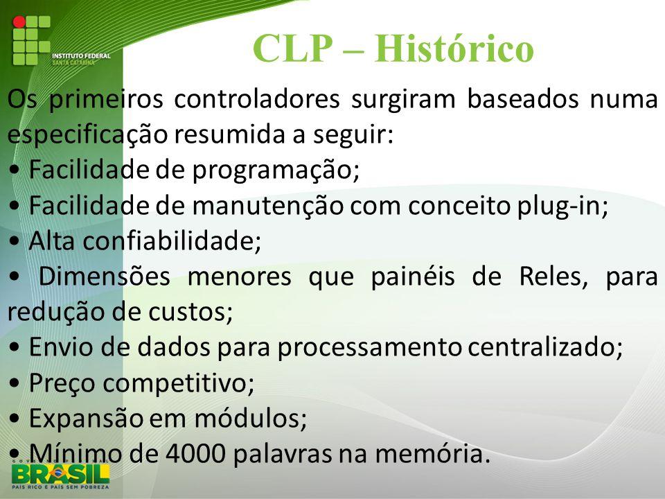 CLP – Histórico Os primeiros controladores surgiram baseados numa especificação resumida a seguir: • Facilidade de programação; • Facilidade de manute