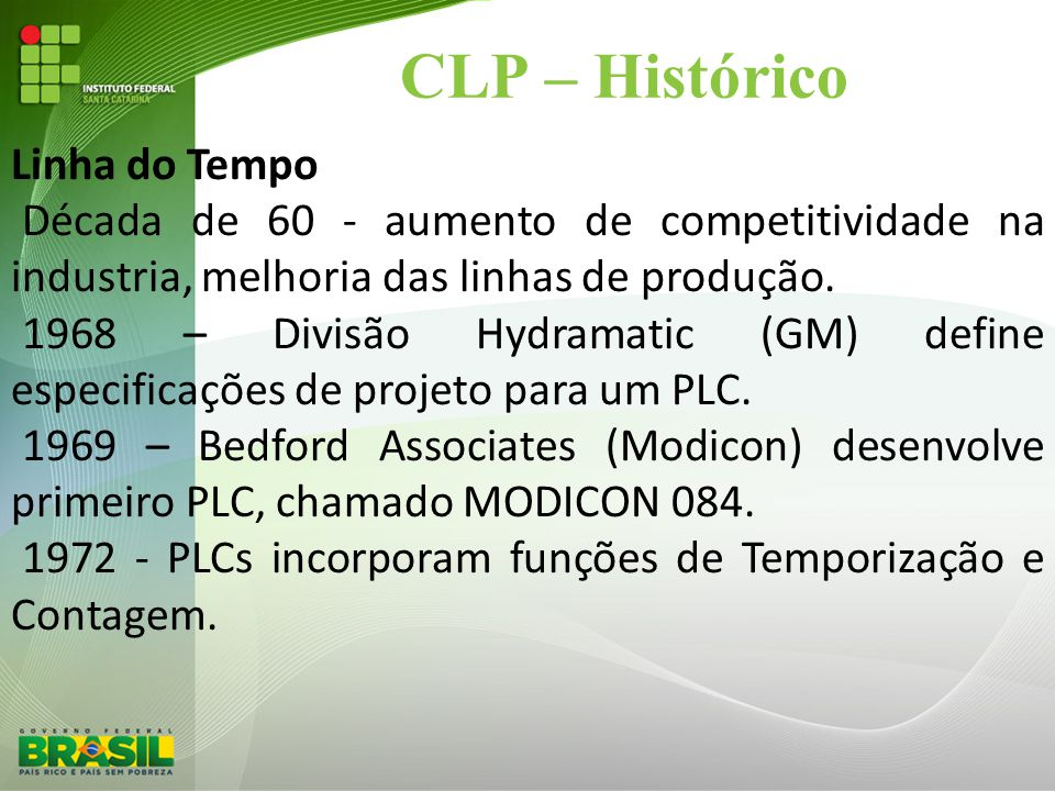 CLP – Histórico Linha do Tempo Década de 60 - aumento de competitividade na industria, melhoria das linhas de produção. 1968 – Divisão Hydramatic (GM)