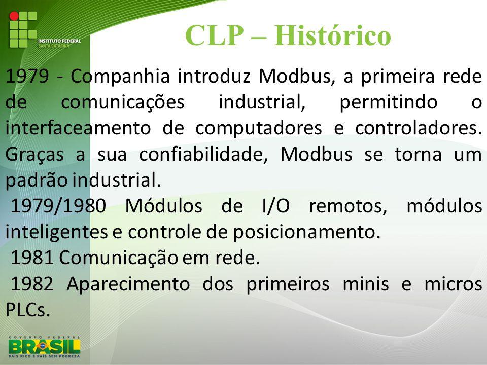 CLP – Histórico 1979 - Companhia introduz Modbus, a primeira rede de comunicações industrial, permitindo o interfaceamento de computadores e controlad