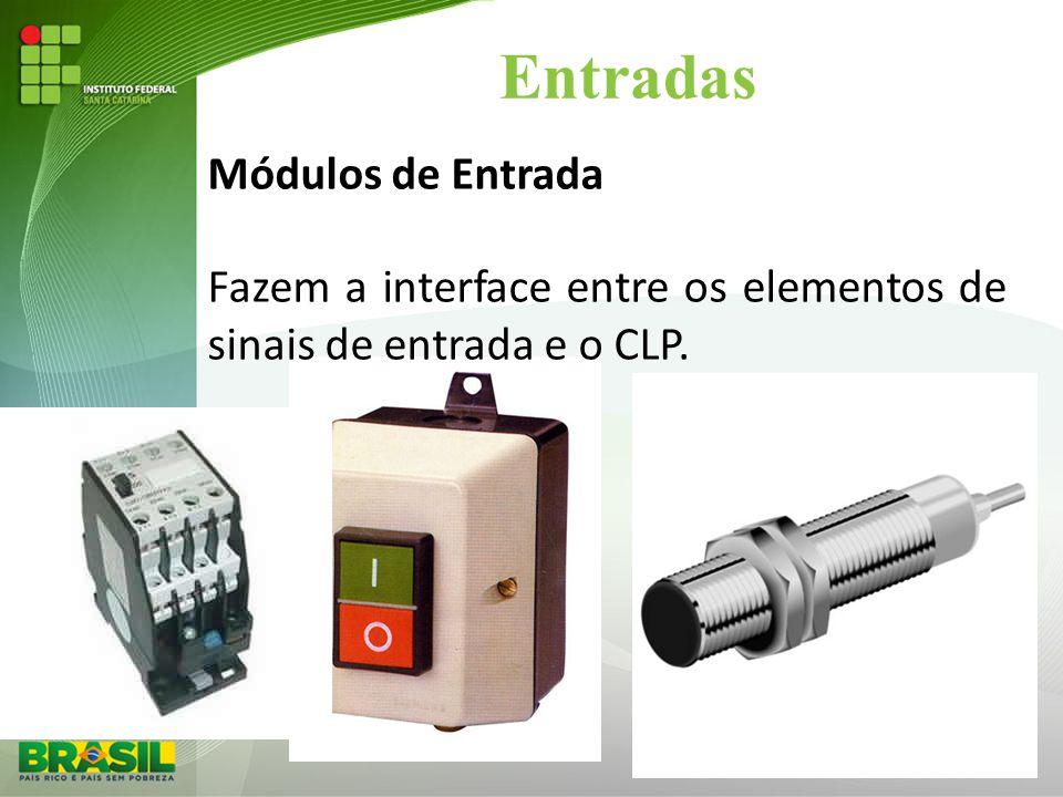 Entradas Módulos de Entrada Fazem a interface entre os elementos de sinais de entrada e o CLP.