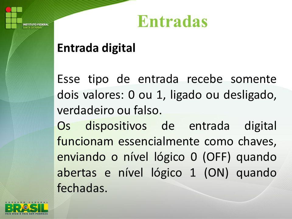 Entradas Entrada digital Esse tipo de entrada recebe somente dois valores: 0 ou 1, ligado ou desligado, verdadeiro ou falso. Os dispositivos de entrad