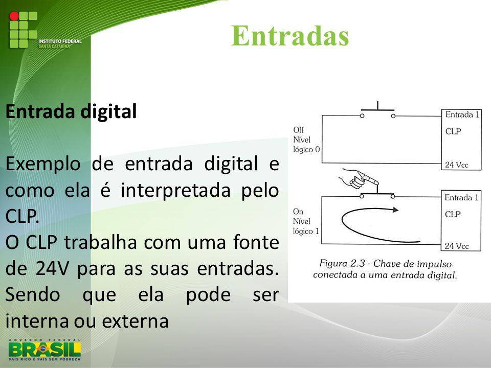 Entradas Entrada digital Exemplo de entrada digital e como ela é interpretada pelo CLP. O CLP trabalha com uma fonte de 24V para as suas entradas. Sen