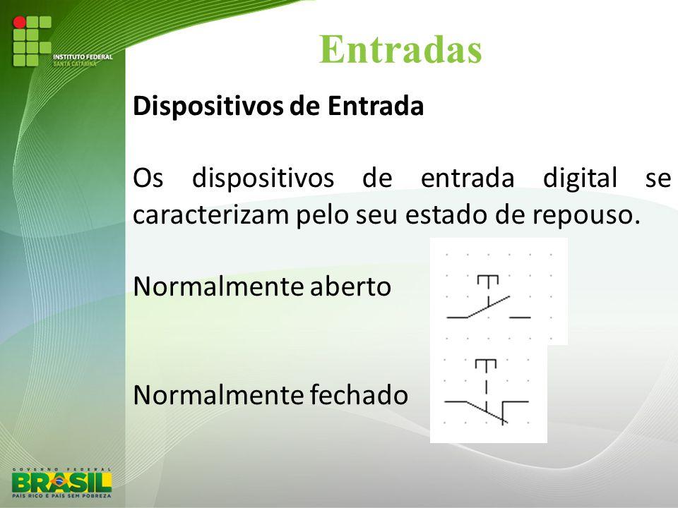 Entradas Dispositivos de Entrada Os dispositivos de entrada digital se caracterizam pelo seu estado de repouso. Normalmente aberto Normalmente fechado