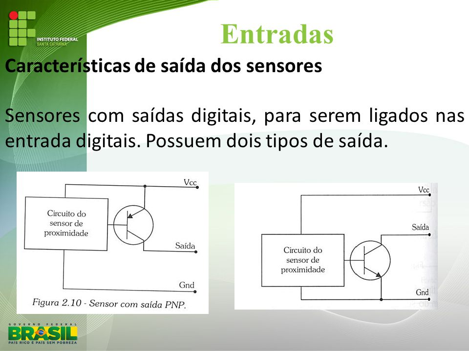 Entradas Características de saída dos sensores Sensores com saídas digitais, para serem ligados nas entrada digitais. Possuem dois tipos de saída.