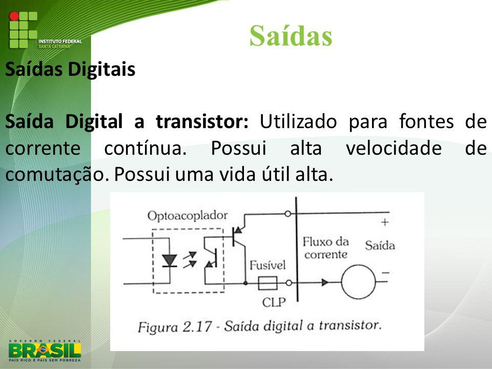 Saídas Saídas Digitais Saída Digital a transistor: Utilizado para fontes de corrente contínua. Possui alta velocidade de comutação. Possui uma vida út
