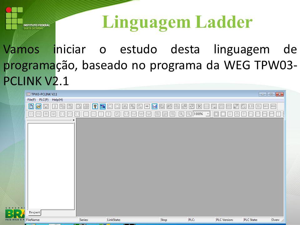Linguagem Ladder Vamos iniciar o estudo desta linguagem de programação, baseado no programa da WEG TPW03- PCLINK V2.1