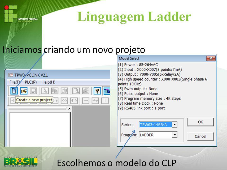 Linguagem Ladder Iniciamos criando um novo projeto Escolhemos o modelo do CLP