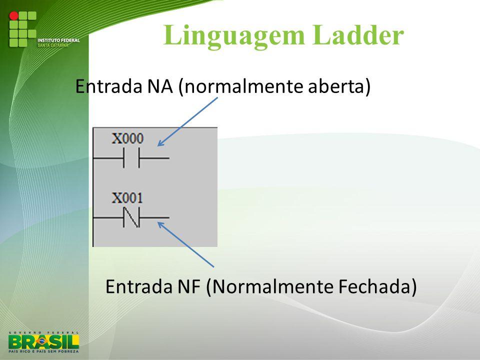 Linguagem Ladder Entrada NA (normalmente aberta) Entrada NF (Normalmente Fechada)