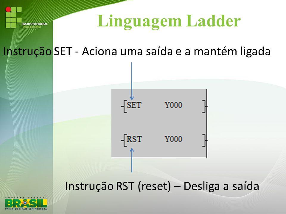 Linguagem Ladder Instrução SET - Aciona uma saída e a mantém ligada Instrução RST (reset) – Desliga a saída