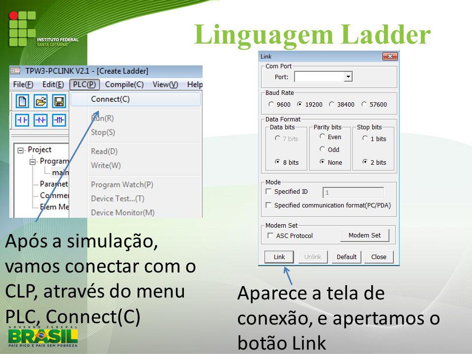 Linguagem Ladder Após a simulação, vamos conectar com o CLP, através do menu PLC, Connect(C) Aparece a tela de conexão, e apertamos o botão Link