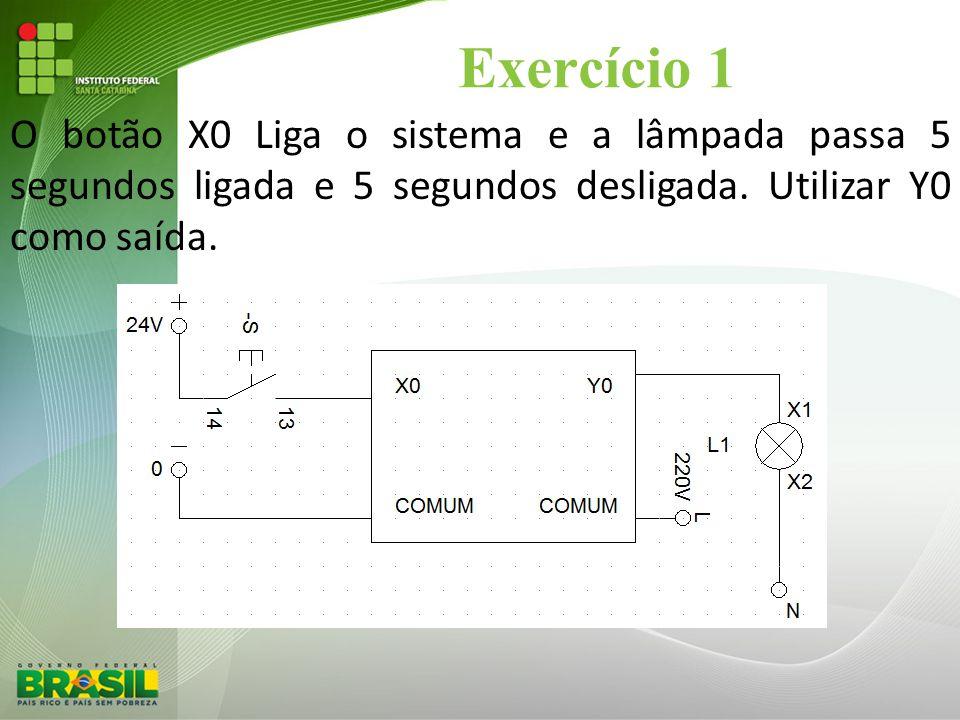 Exercício 1 O botão X0 Liga o sistema e a lâmpada passa 5 segundos ligada e 5 segundos desligada. Utilizar Y0 como saída.