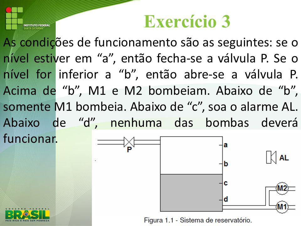 """Exercício 3 As condições de funcionamento são as seguintes: se o nível estiver em """"a"""", então fecha-se a válvula P. Se o nível for inferior a """"b"""", entã"""