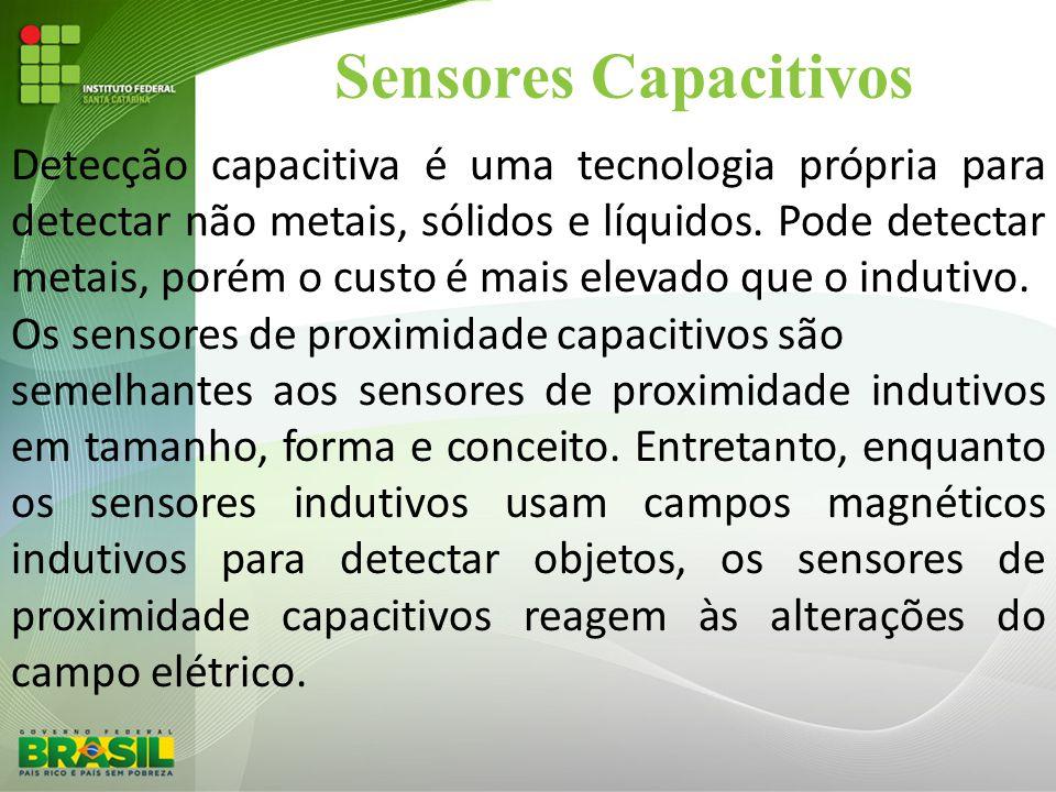 Sensores Capacitivos Detecção capacitiva é uma tecnologia própria para detectar não metais, sólidos e líquidos. Pode detectar metais, porém o custo é