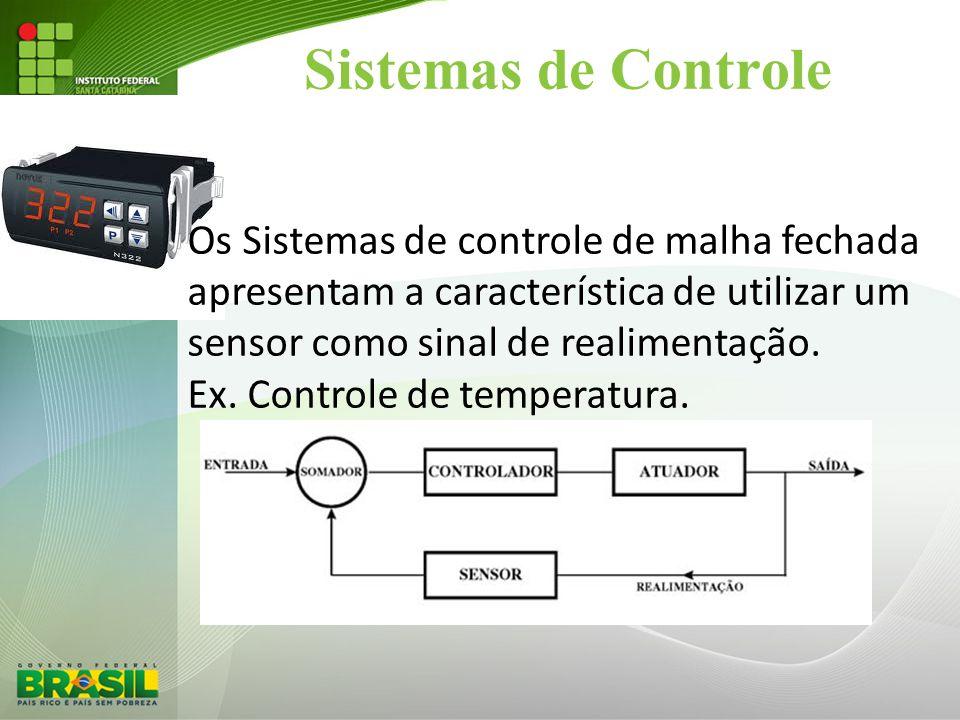 Sistemas de Controle Os Sistemas de controle de malha fechada apresentam a característica de utilizar um sensor como sinal de realimentação. Ex. Contr